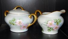 VINTAGE GERMAN KPM PORCELAIN CREAMER & SUGAR BOWL ROSES DESIGN NR