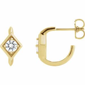 White Sapphire Geometric J-Hoop Earrings In 14K Yellow Gold