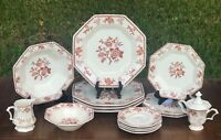 Nikko Bittersweet Set of Dinnerware 15pc Red Floral Octagonal Japan