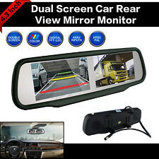 Car Dual Screen 4.3'' Rear View Mirror Monitor For Double Backup CAM Auto Switch