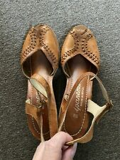Vtg 70's Does 40's Ipanema Wood Ankle Strap Peep Toe Braided Leather Brazil 8