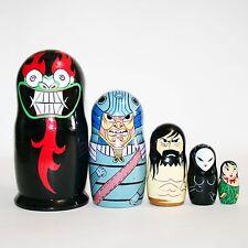 "Nesting dolls Samurai Jack modern. Signed Hand-painted matryoshka 7""/18cm"