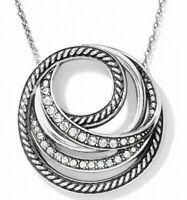 Brighton NEPTUNE'S RINGS SILVER CRYSTAL Necklace TAGS w/ DUST BAG $68