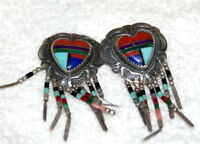 Navajo Sterling Silver Multi Stone Inlay Heart Dangle Earrings Signed Sterling