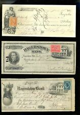 Nice Group 1800's Bank Checks - Either on Revenue Paper or With Revenue Stamps