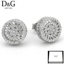 12mm Round.Studs*Earring*Unise x + Box Dg Men's Sterling-Silver 925 Brilliant Cz