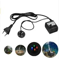 2W Quiet Submersible Water Pump with LED Light Fish Pond Aquarium Tank Fountain