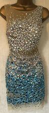 FOREVER UNIQUE *Blue/ Nude Embellished Gem Sheer Mini Evening Party Dress, UK 12