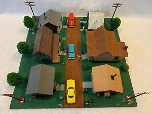 HO Scale Neighborhood with 6 Buildings Wood Kits Custom Assembled