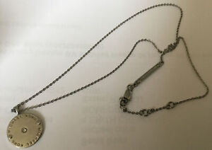 Michael Kors silver disc pendant necklace with Crystal Chip ~good condition