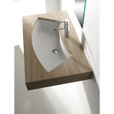 Lavandino Lavabo Sottopiano Design Moderno Aral in ceramica bianco 85x42 cm