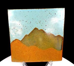 """TAVEL SIGNED #1876X STONEWARE SCENIC MOUNTAIN SPECKLED SQUARE 6 5/8"""" TILE"""