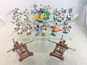 Large Lot Vintage Timpo Swoppet Medieval Mounted Footed Crusaders Knights