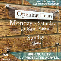 Bespoke Personalised Wall Mounted Acrylic Business Shop Opening Hours Times Sign