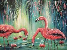 FLAMINGO PARADISE 80cmx60cm, Seerosen gemalt Bild Deko Vogel  Christiane Schwarz