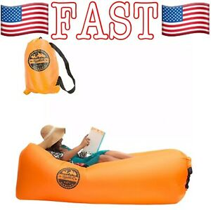 Together & Onward Inflatable Lounger Sofa Portable Couch, Camping, Beach, Orange