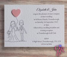 50 Wedding Invitations Evening Invites Handmade & Personalised  *40 Colours*