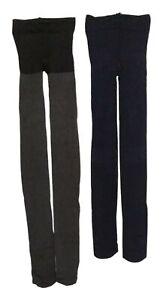 Hue Women's Sz 2 Control Top Tights Super Opaque Tight 2-Pack Gray/Blue 633769