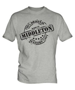 MADE IN MIDDLETON MENS T-SHIRT GIFT CHRISTMAS BIRTHDAY 18TH 30TH 40TH 50TH 60TH