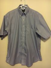 Jos. A. Bank Traveler's Collection Dress Shirt Short Sleeve Blue Pinstripe 16.5