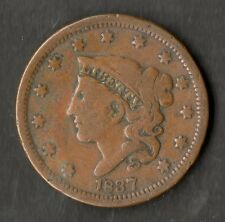 USA Large Size Copper One Cent 1837 NVF Beaded Cord Head Of 1838