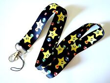 SUPER MARIO BROTHERS STAR & MUSHROOM LANYARD nintendo neck strap ID tag badge Z1