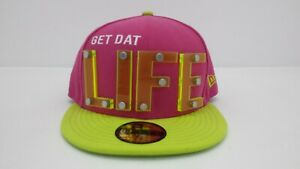"""NEW ERA 5950 FITTED CAP """"GET THAT LIFE"""" PINK/YELLOW - BRAND NEW"""