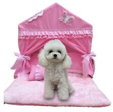 Cute Cotton Princess Handmade Pet Dog Cat Bed House Tent Sofa Cushion Pink/Blue