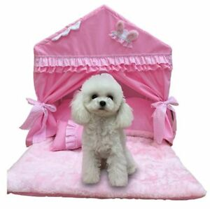 Cute Cotton Princess Handmade Pet Dog Cat Bed House Tent Sofa Cushion Pink/Blue