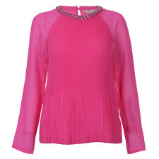 NWT Ted Baker Womens Pink Lovina Beaded Neck Pleat Top Size 3 $195