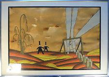 Dessin en aquarelle - Les personages - surréalisme. Signé Cass. 74.