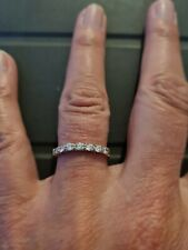 9ct Yellow Gold Diamond Chip Eternity Ring size O weighs 1.1 grammes