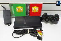 Sony PlayStation 2 Slim Bundle (Cables, Controller, Mem Card & 2 Random Games)