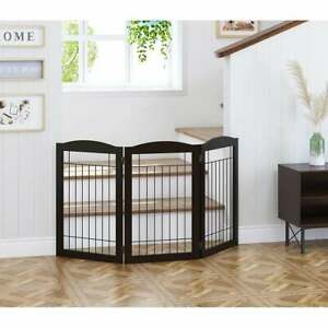 Spirich Freestanding Black Wire Pet Gate,60 inches Extra Wide,30 inches Tall Dog