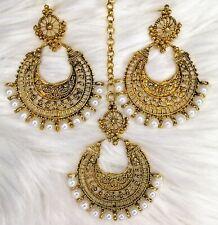 Bollywood Indian Punjabi Earring Maang Tikka Chand Bali Jewellery Set Pearl