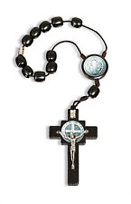 Saint Benedict Cross Car Rearview Mirror Protection Rosary, Black Wood Beads