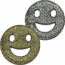 More details for gold glitter smile face 29mm school party event reward deposit counters