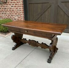 Antique Italian Renaissance Desk Library Table with Drawer Paw Feet Walnut