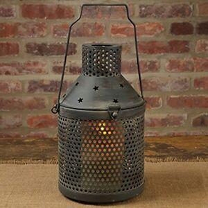 Star Candle Lantern in Aged Tin