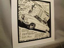 1965 Jaguar Sedan Auto Pen Ink Hand Drawn  Poster Automotive Museum