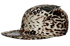 RARE - ITZU Co Leopard Print 5 Panel Clasp Leather Snapback Cap Hat Snap Back