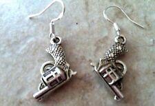 GUN PISTOL Earrings, .925 Sterling Silver Ear Wires, western, cowgirl, gangsta