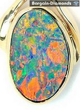 black opal diamond 14K gold pendant Australian floral harlequin rare opale opala
