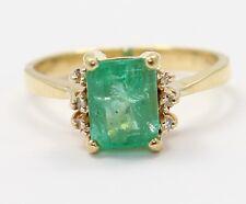 18k Yellow Gold Emerald and Diamond Ladies Ring