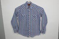 VTG Rustler Mens Size 17 34/35 Striped Pearl Snap Shirt Western X-Long Tail F70