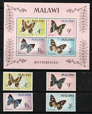 MALAWI 1966 SET + M.S., BUTTERFLIES.   M.N.H.