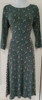 Womens Boden Forest Green Stretch Jersey  Tie Belt Fit And Flare Midi Dress 10.