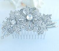 "Wedding Bridal 4.33/"" Clear Rhinestone Crystal Peacock Hair Comb 05651C1"