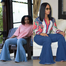 Women casual fashion stretch denim bodycon bell-bottoms trousers pants jeans