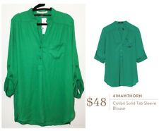 NWT Stitch Fix 41 Hawthorn Colibri Solid Tab Sleeve Blouse Career Green Size XL